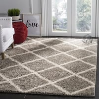 Safavieh New York Shag Geometric Grey/ Ivory Area Rug - 6'7 Square