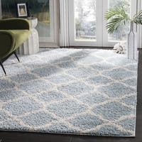 Safavieh New York Shag Geometric Blue/ Ivory Area Rug - 6'7 Square