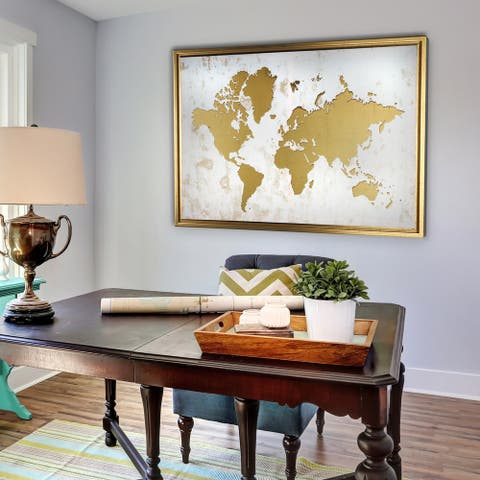 Framed White and Gold World Map
