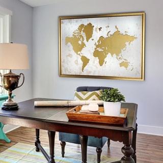 Framed White and Gold World Map