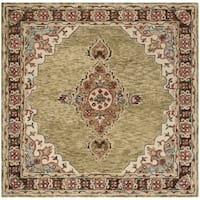 Safavieh Aspen Hand-Woven Wool Southwestern Geometric Sage/ Brown Area Rug - 7' x 7' Square