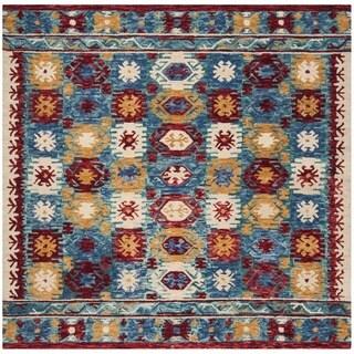 Safavieh Aspen Hand-Woven Wool Southwestern Geometric Blue/ Red Area Rug (7' Square)