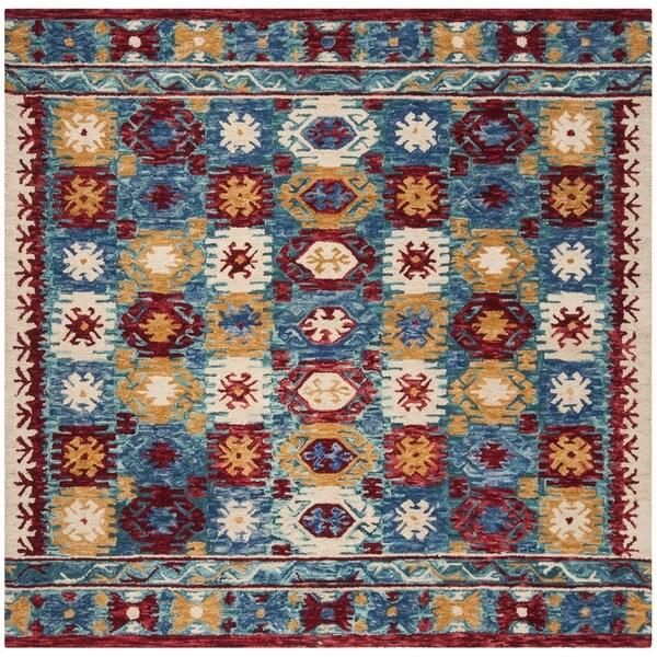Safavieh Aspen Hand-Woven Wool Southwestern Geometric Blue/ Red Area Rug - 7' Square