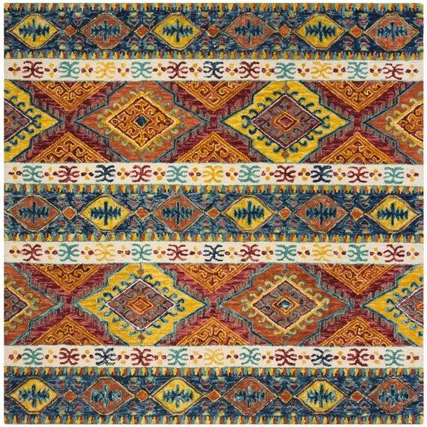 Safavieh Aspen Hand-Woven Wool Southwestern Geometric Navy/ Ivory Area Rug - 7' Square