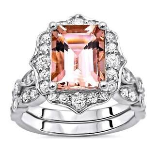 Noori 14k Gold 1.90ct Emerald Morganite Diamond Engagement Ring Set - Pink|https://ak1.ostkcdn.com/images/products/16796021/P23101280.jpg?impolicy=medium