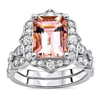 14k Gold 1.90ct Emerald Morganite Diamond Engagement Ring Set - Pink