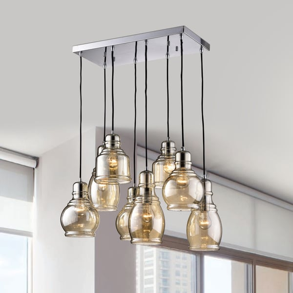 Mariana Chrome Metal and Glass 8-light Cluster Pendant Chandelier