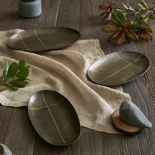 INK+IVY Tribecca Black Oval Decorative Platter - Set of 3