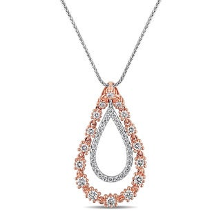 Miadora Signature Collection 2-Tone 14k White and Rose Gold 3/4ct TDW Diamond Double Teardrop Floral Accent Necklace