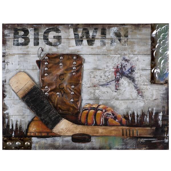 Yosemite Home Decor Hockey Hero Canvas Handpainted Original Wall Art Multi Overstock 16796164