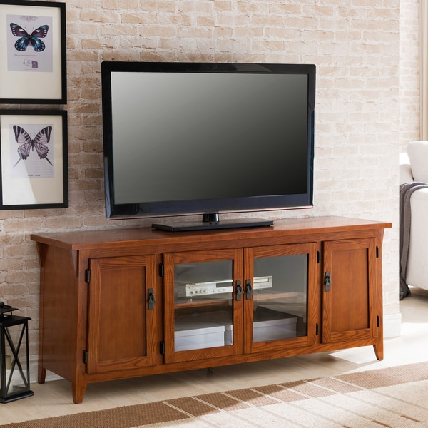 Kd Furnishings Canted Side Mission Brown Oak 4 Door 60 Inch Tv Console