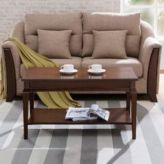 KD Furnishings Chocolate Cherry Wood Condo/Apartment Coffee Table with Display Shelf