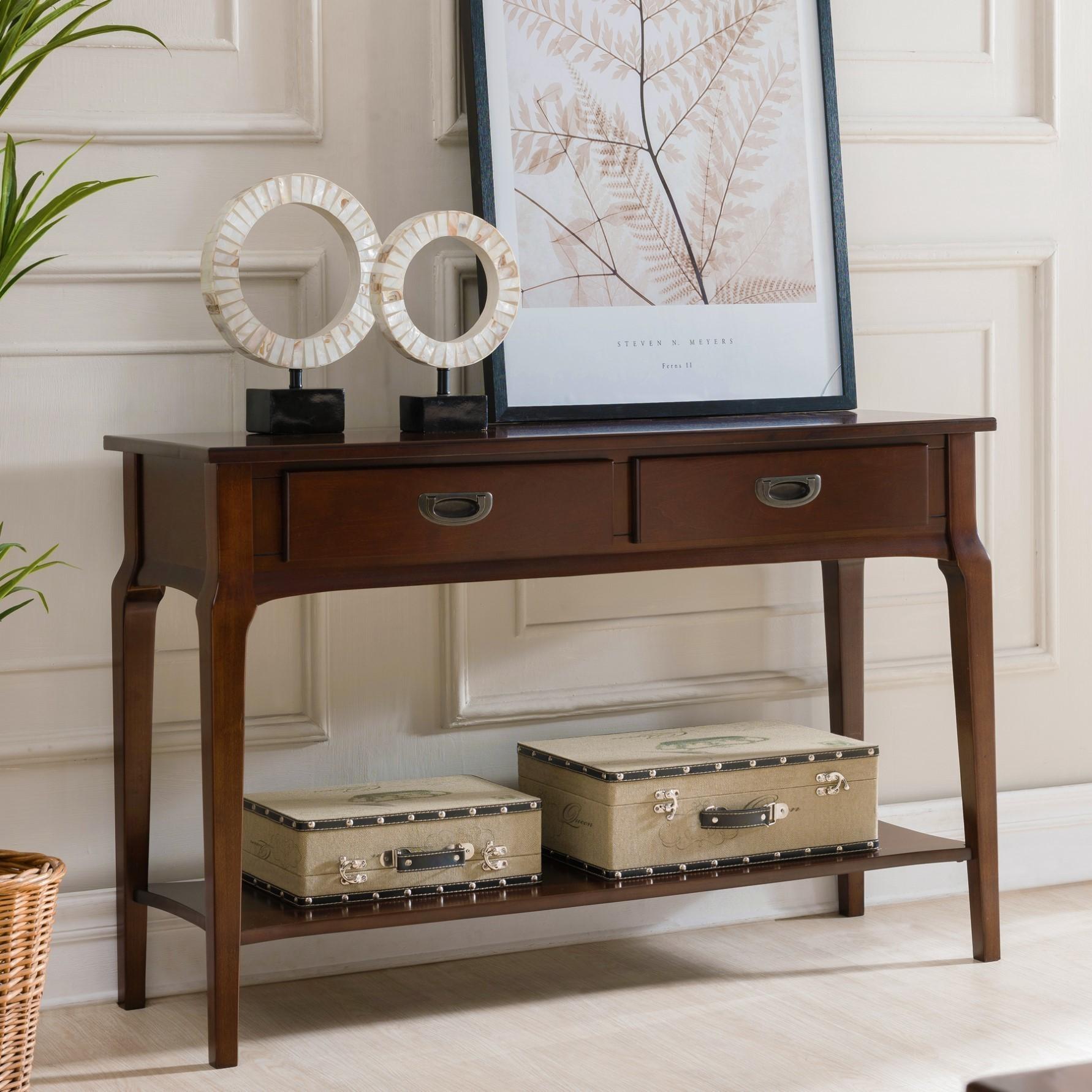 Kd Furnishings Chocolate Cherry Wood 2 Drawer Sofa Table
