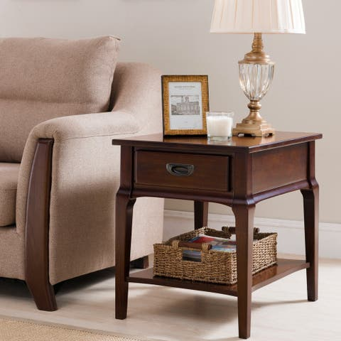 KD Furnishings Brown Wood 1-drawer End Table