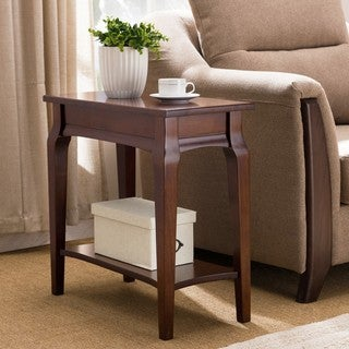 KD Furnishings Cherry-finish Wood Narrow Chairside Table