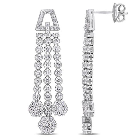 Miadora Signature Collection 18k White Gold 2-5/8ct TDW Diamond Graduated Link Flower Dangle Earrings