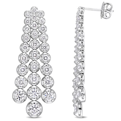 Miadora Signature Collection 18k White Gold 4-4/5ct TDW Diamond Graduated Link Dangle Earrings