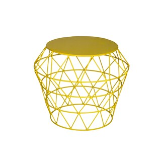 Amrah Home Yellow Metal Contemporary Drum Table Stool