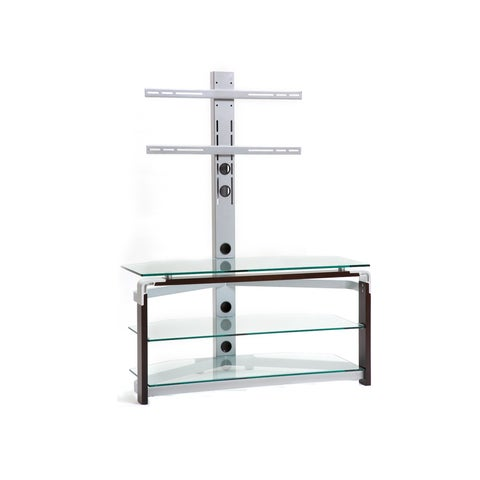 Clear Glass/ Silvertone Metal TV Stand for TVs up to 42 Inches