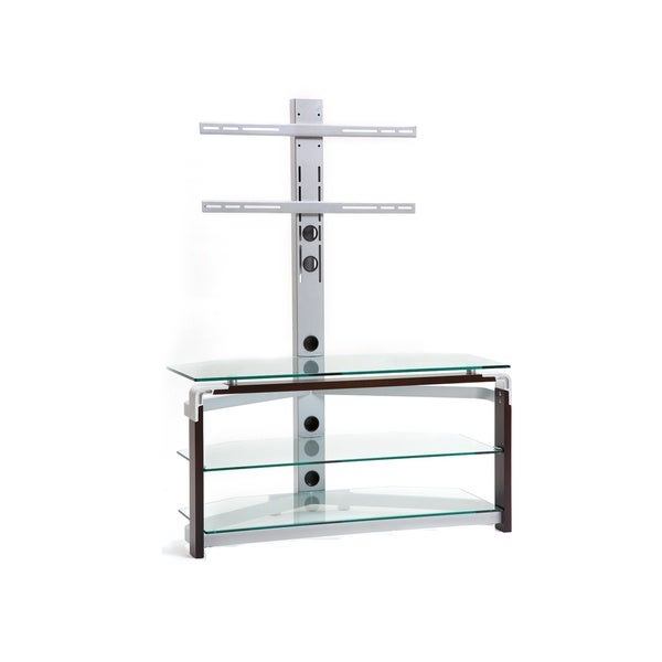Clear Glass/ Silvertone Metal TV Stand for TVs up to 42 Inches. Opens flyout.