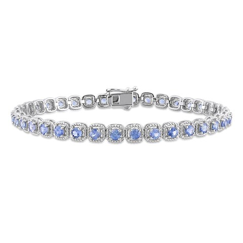 Miadora Signature Collection 14k White Gold Sapphire Halo Tennis Bracelet