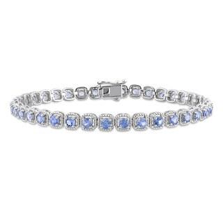 Miadora Signature Collection 14k White Gold Sapphire Halo Tennis Bracelet
