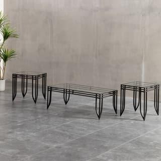 Matrix 3 Piece Accent Table Set W Black Metal Frame Coffee 2