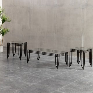 Matrix 3 Piece Accent Table Set W/ Black Metal Frame, Coffee U0026 2