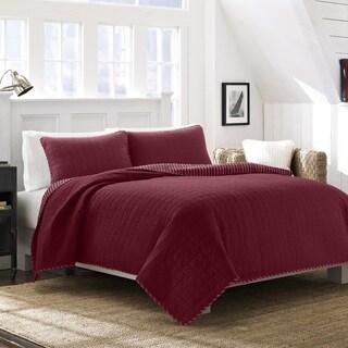 Nautica Maywood Red Cotton Quilt Set