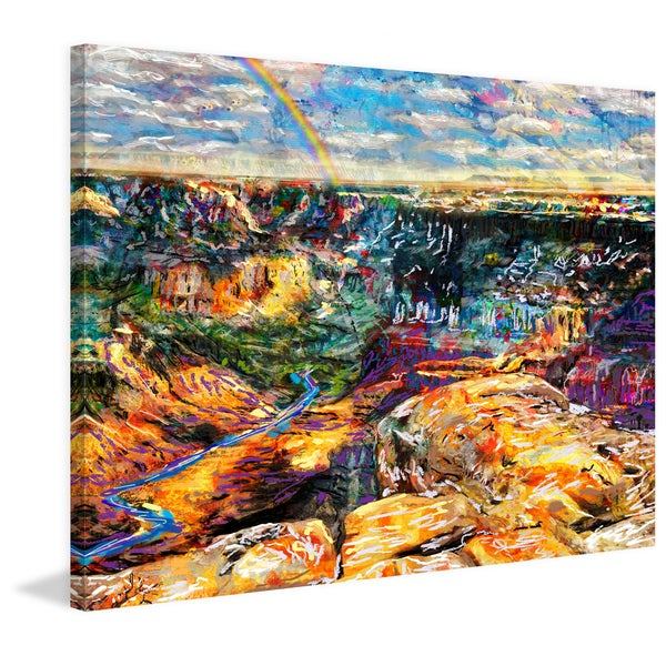 'Grand Canyon V' Painting Print on Wrapped Canvas - Blue