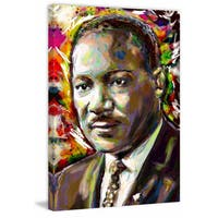 'Martin Luther King' Painting Print on Wrapped Canvas - Black