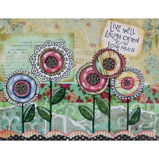 'Live Well Flowers' Painting Print on Wrapped Canvas