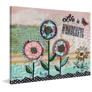 'Life Is Wonderful Flowers' Painting Print on Wrapped Canvas