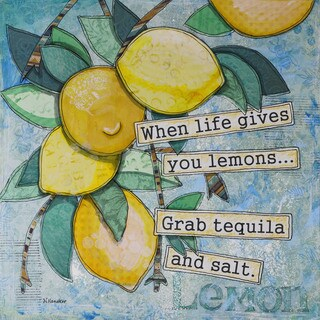 'Lemony Life' Painting Print on Wrapped Canvas - Blue (5 options available)