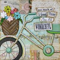 'Bike Too Wonderful' Painting Print on Wrapped Canvas - Blue