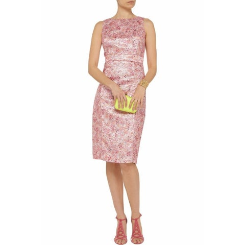 Badgley Mischka Pink Tweed Size 6 Dress