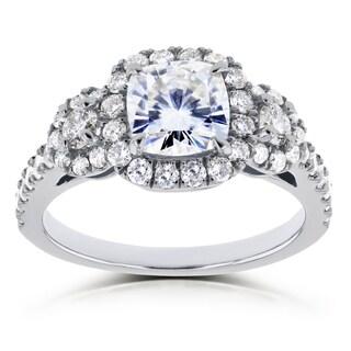 Annello By Kobelli 14k White Gold 1 7 8ct TGW Moissanite FG And Diamond GH 3 Stone Halo Ring