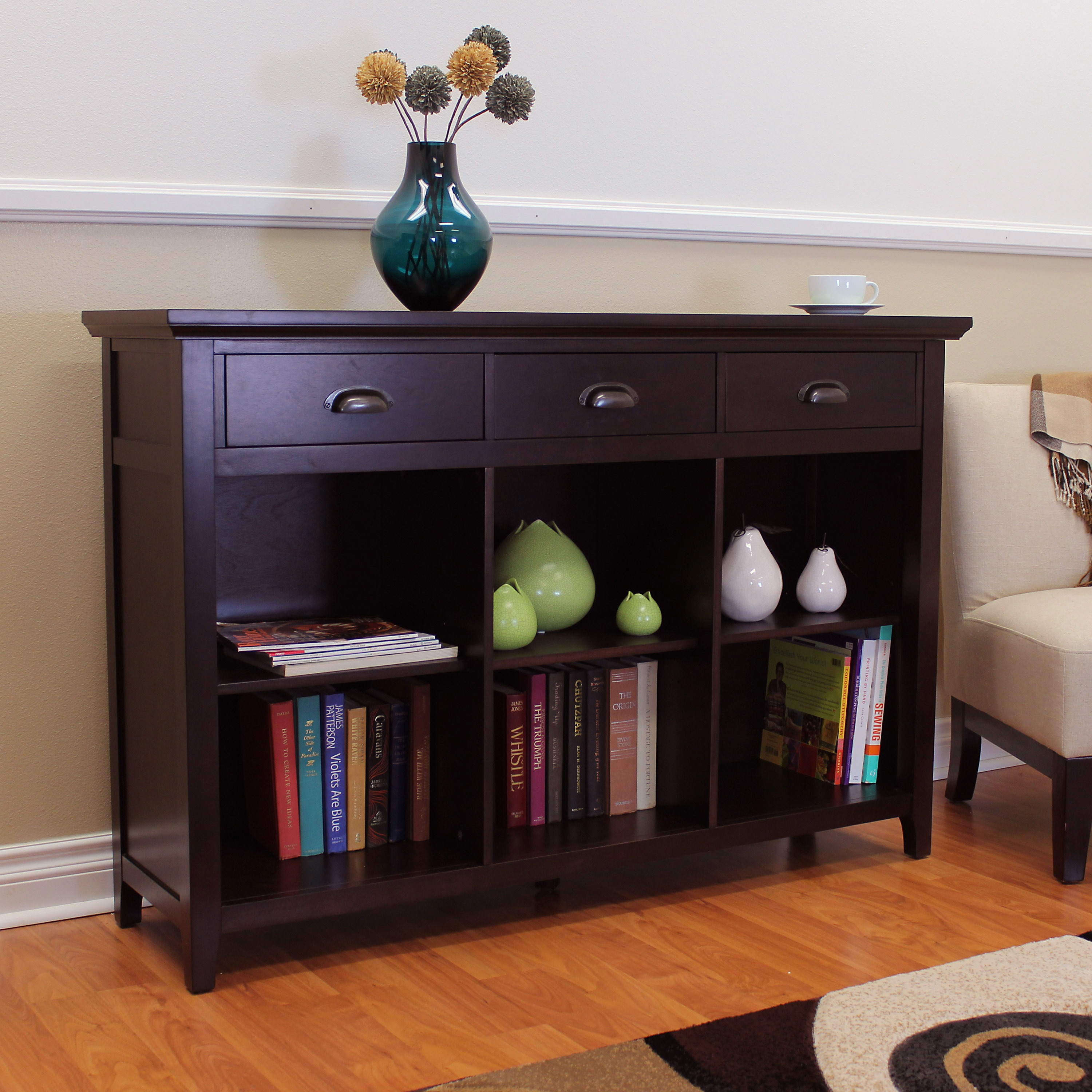 Donnieann Lindendale Espresso Finished 54 Inch Bookcase With 3 Drawers