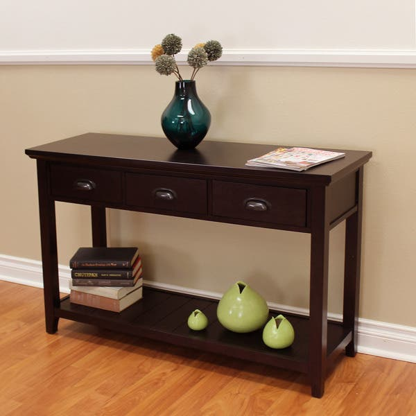 Lindendale Espresso 47 Inch 3 Drawer Console Table Overstock 16796816