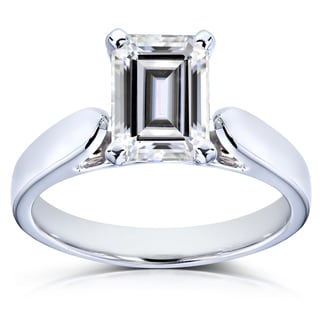Annello by Kobelli 14k White Gold 1 Carat Emerald-cut Near Colorless Moissanite (FG) Solitaire Engagement Ring