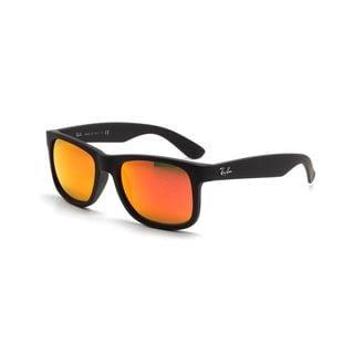 Ray Ban Justin RB4165 Unisex Black Frame Red Mirror Lenses Sunglasses