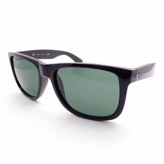 Ray Ban Justin RB4165 Unisex Shiny Black Frame Green Lenses