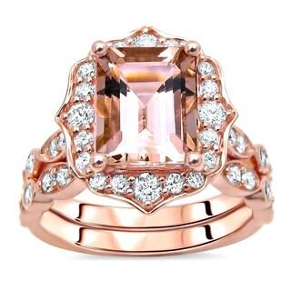 14k Rose Gold 1.90ct Morganite Diamond Engagement Ring Set - Pink