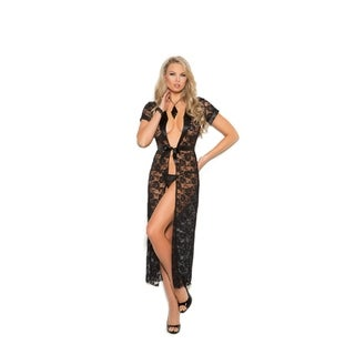 Elegant Moments womens lace robe and g-string