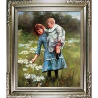 Theodore Robinson In a Daisy Field Hand Painted Oil Reproduction