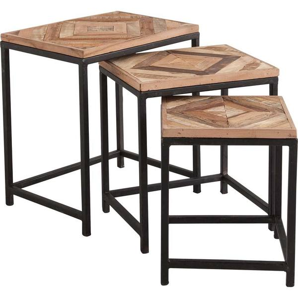 Deon Industrial Style Pattern Metal Rectangle Coffee Table: Shop Mercana Chancella Brown Wood/Metal 3-piece Nesting