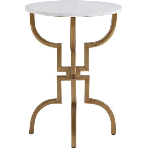 Mercana Crayton I White Marble Accent Table
