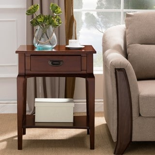 KD Furnishings Chocolate Cherry Wood Side Table with Drawer