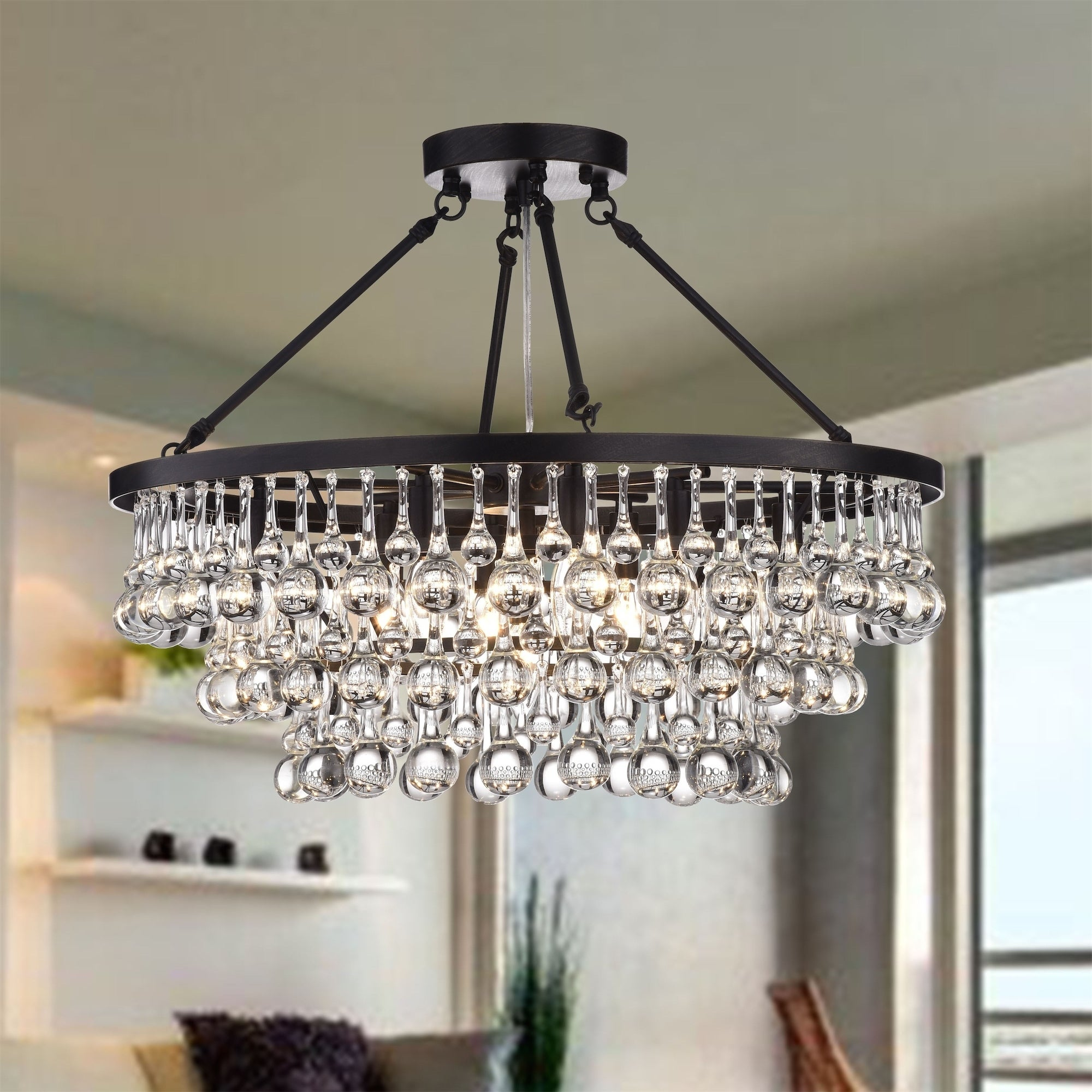 Details About Arosa 9 Light Black Semi Flush Mount Modern Crystal Chandelier