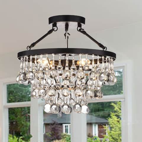 Ariane 5-Light Black Semi Flush Mount